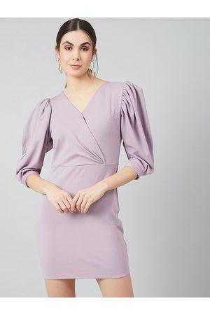 ATHENA Women Lavender Solid Bodycon Dress