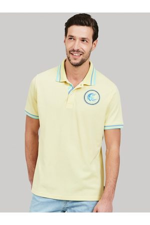 Beverly Hills Polo Club Men Yellow Solid Polo Collar T-shirt