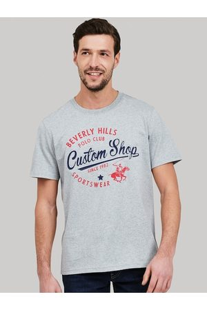 Beverly Hills Polo Club Men Grey Printed Round Neck T-shirt