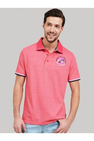 Beverly Hills Polo Club Men Pink Striped Polo Collar T-shirt