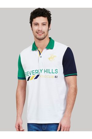 Beverly Hills Polo Club Men White Colourblocked Polo Collar T-shirt