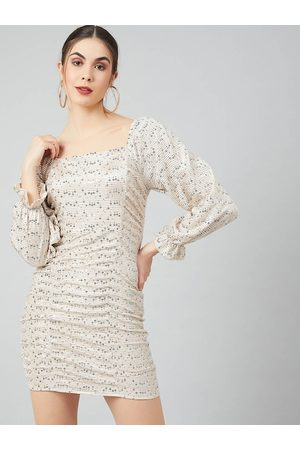 ATHENA Women Beige Self Design Bodycon Dress