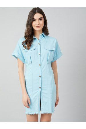 ATHENA Women Blue Solid Shirt Dress