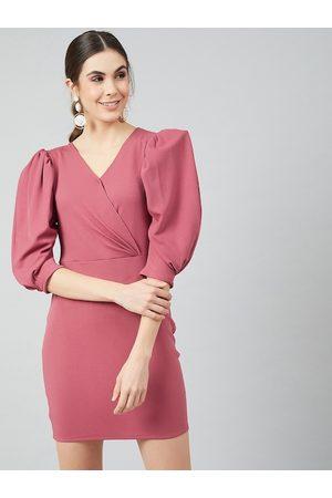 ATHENA Women Pink Solid Wrap Dress