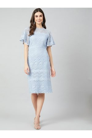 ATHENA Women Blue Self Design Sheath Dress