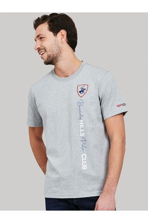 Beverly Hills Polo Club Men Grey Self Design Round Neck T-shirt