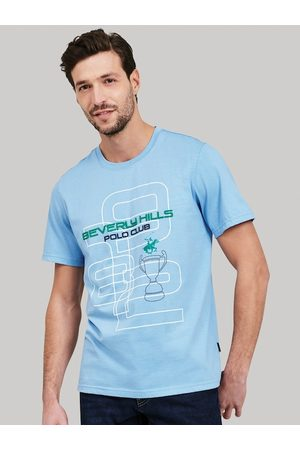 Beverly Hills Polo Club Men Blue Printed V-Neck T-shirt