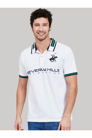 Beverly Hills Polo Club Men White Checked Polo Collar T-shirt