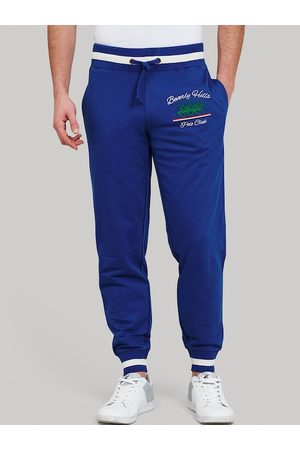 Beverly Hills Polo Club Men Blue & White Solid Equally Stacked Joggers