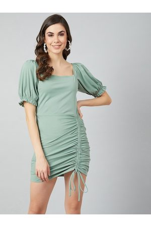 ATHENA Women Sea Green Solid Sheath Dress