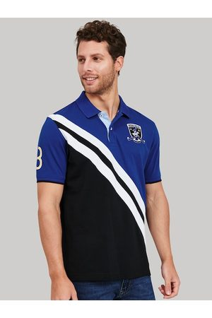 Beverly Hills Polo Club Men Blue Colourblocked Mandarin Collar T-shirt