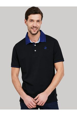 Beverly Hills Polo Club Men Black Self Design Polo Collar T-shirt