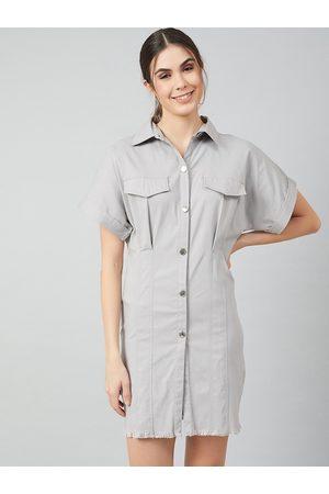 ATHENA Women Grey Solid Shirt Dress