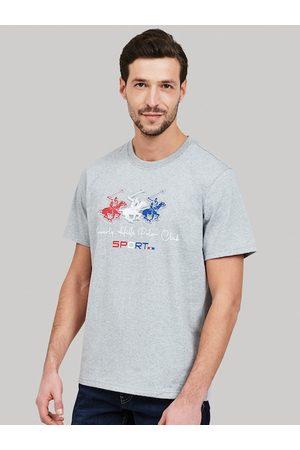 Beverly Hills Polo Club Men Grey Self Design Round Neck T-shirt