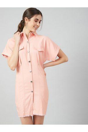 ATHENA Women Pink Solid Shirt Dress