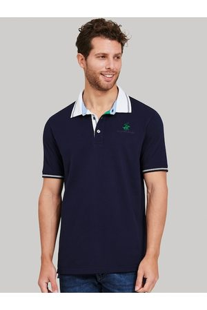 Beverly Hills Polo Club Men Navy Blue Colourblocked Polo Collar T-shirt