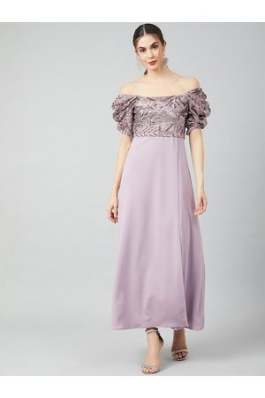 ATHENA Women Lavender Embellished Maxi Dress