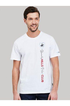 Beverly Hills Polo Club Men White Self Design Round Neck T-shirt