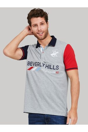 Beverly Hills Polo Club Men Grey Colourblocked Polo Collar T-shirt