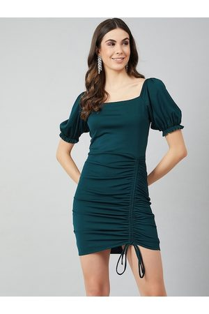 ATHENA Women Turquoise Blue Solid Bodycon Dress