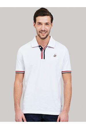 Beverly Hills Polo Club Men White Self Design Polo Collar T-shirt