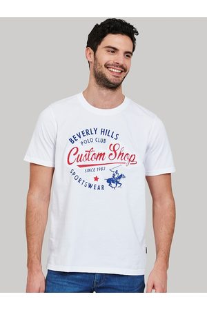 Beverly Hills Polo Club Men White Printed Round Neck T-shirt