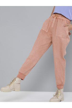 Sassafras Women Peach-Coloured Cotton Regular Fit Solid Joggers