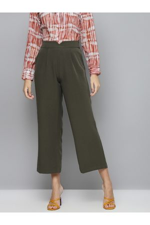 Sassafras Women Olive Green Solid Parallel Trousers