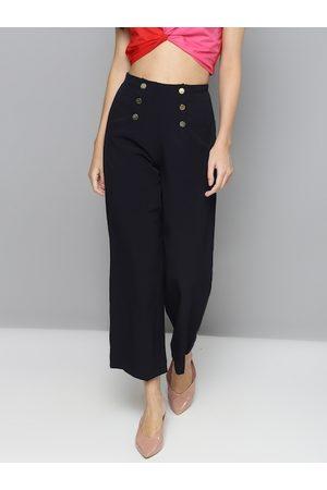 Sassafras Women Navy Blue Regular Fit Solid Parallel Trousers