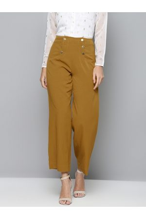 Sassafras Women Mustard Brown Solid Parallel Trousers