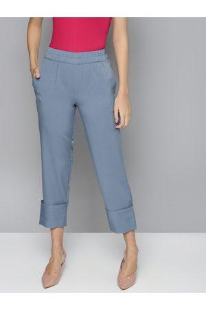 Sassafras Women Blue Regular Fit Solid Cropped Trousers