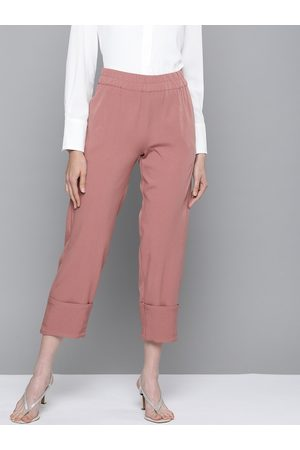 Sassafras Women Dusty Pink Regular Fit Solid Roll-Up Trousers