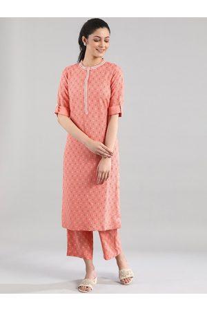 AURELIA Women Peach-Coloured Printed Kurta