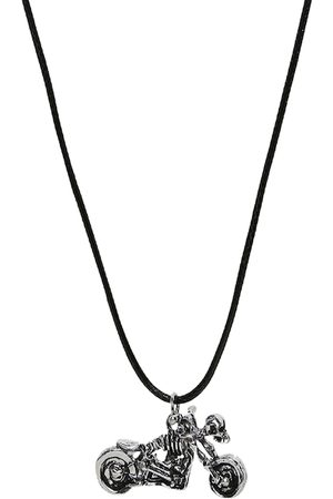 OOMPH Men Silver-Toned & Black Biker Punk Skull-Shaped Handcrafted Pendant With Chain
