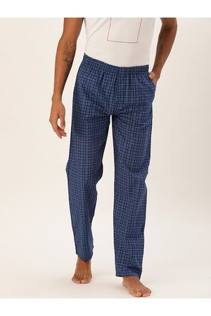 The Indian Garage Co Men Blue Checked Lounge Pants