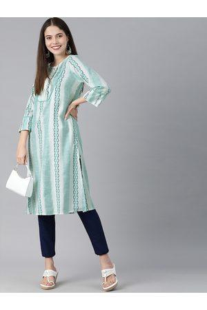 Global Desi Women Blue & White Printed Kurta