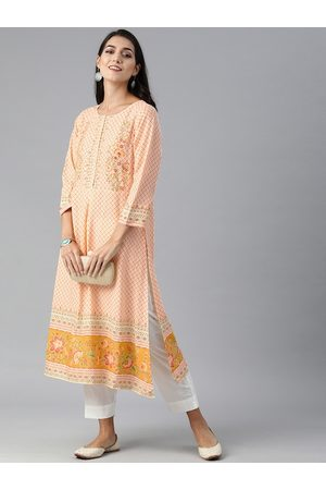 Global Desi Women Cream-Coloured & Orange Geometric Printed Kurta