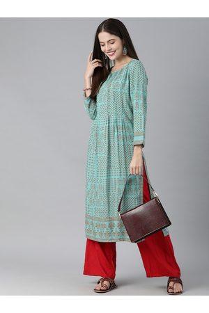 Global Desi Women Blue & Rust Printed Kurta