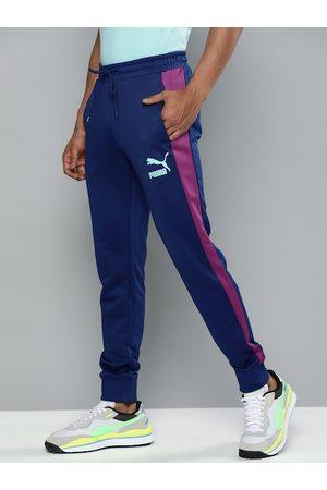 PUMA Men Blue Regular Fit Iconic T7 Solid Joggers
