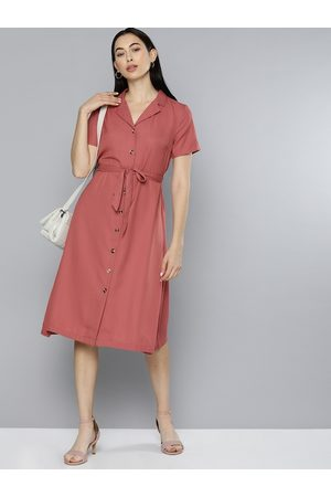 Chemistry Women Rust Pink Solid Cuban Collar Shirt Dress