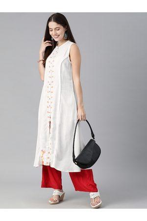 Global Desi Women White & Red Floral Embroidered Thread Work Kurta