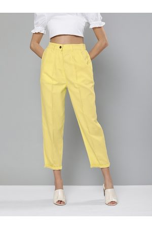 Sassafras Women Yellow Regular Fit Solid Regular Cropped Tapered Trousers