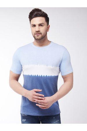 GRITSTONES Men Blue Dyed Round Neck T-shirt
