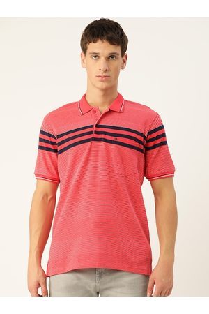 Monte Carlo Men Coral Red & White Striped Polo Collar T-shirt