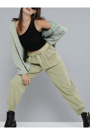 Sassafras Women Olive Green Pure Cotton Solid Joggers