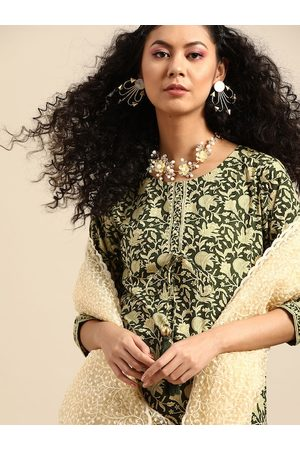 Varanga Women Olive Green & Cream-Coloured Printed Kurta with Trousers