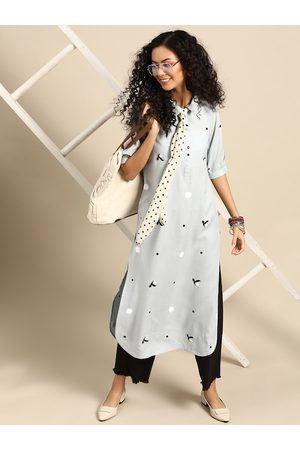 Varanga Women Grey & Black Printed Kurta