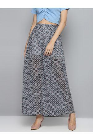 Sassafras Women Off-White & Blue Sheer Printed Flared Trousers