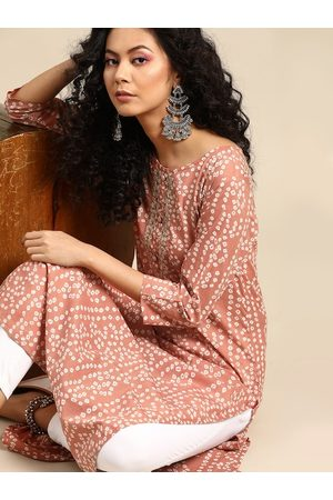 Varanga Women Mauve & White Bandhani Printed Pure Cotton Kurta