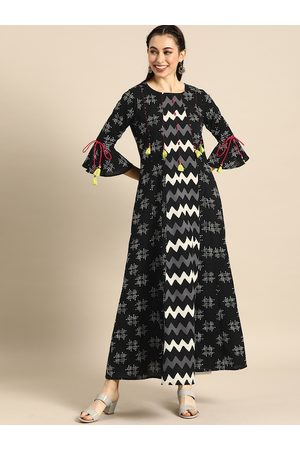 Varanga Women Black & White Printed Bell Sleeves Anarkali Kurta